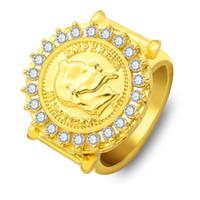 neue tschechische schmuck großhandel-Neuer Goldring für Männer und Frauen Hip-Hop-Ringe mit Napoleon III Muster Mosaik Tschechische Bohrer Mode Ringe Geschenk Schmuck