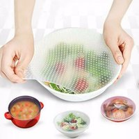Wholesale washable food - Keeping Food Fresh Wrap 5 Sizes Reusable High Stretch Silicone Food Wraps Seal Vacuum Cover Stretch Lid Breast Pads OOA5330