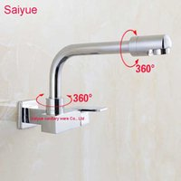 Wholesale vanity contemporary - New Arrival Single Cold 720 Degree Rotating Wall mouted Square Handle Kitchen Lavatory Vanity Sink Faucet Chrome Spout Mixer Tap