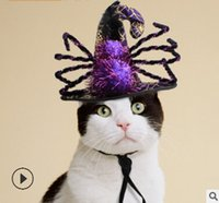lila katzenhut großhandel-Halloween-Hexe-Haustier-Katzen-Hüte Halloween-purpurrote Spinnen-Katzen-Kappen Nette Katzen-Kätzchen Cosplay Hut-Kostüme
