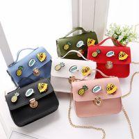 Wholesale toddler purses handbags - 2018 Fashion Spring Children Handbag For Girls Small Bag Chicken Pineapple Badge Toy Toddler Messenger Bag PU Leather Kids Wallet Bag