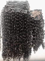 Wholesale hair extensions clips curl for sale - Group buy New Arrive Curl Human Virgin Brazilian Hair Weft Clip In Human Hair Extensions Unprocessed Natural Black Color With closure
