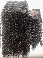 ingrosso chiusura in trama dei capelli vergini non trattati-Nuovo arrivo arricciare la trama di capelli umani vergini brasiliani Clip nelle estensioni dei capelli umani Colore nero naturale non trattato Con chiusura