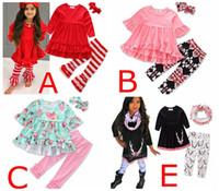 Wholesale T Shirts Lace Wholesale Printing - Girls xmas floral print Sets Ruffled Red T-shirts Tops Lace Striped Pants 3Pcs set Fashion Girl Kids Apparel Boutique infant Clothes Suit