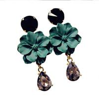 ingrosso gioielli in pietra nera-Bohemia Jewelry Natural Stone Black orecchino di cristallo per le donne Fashion Black Green Flower ciondola gli orecchini di goccia Bijoux