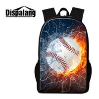 Wholesale trendy backpacks for women - Baseball Backpacks for Boys Cool Balls 3D Printed Lightweight School Bookbags Trendy Rucksack Primary Students Mochila Design Your Own Bag