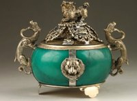 Wholesale india dance - Vintage Collection Handmade Old Tibet Silver Dragon Jade Incense Burner
