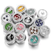кнопки со смешанной кнопкой оптовых-Смешанные Noosa Chunks Духи Ароматерапия Locket Эфирное масло Diffuser Snap Button Браслет Ожерелье для женщин Мужчины Snap Jewelry