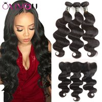 Wholesale brazilian human hair weave - Brazilian Virgin Hair Bundles with Frontal Body Wave Straight Human Hair Weaves Unprocessed Deep Wave Hair Extensions and Frontal Closure