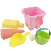 Wholesale tpe toys - 5PCS TPE Sand Beach Kids Beach Castle Bucket Spade Shovel Rake baby water bath toys for children brinquedos drop shipping #TX