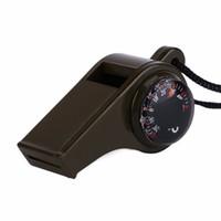 termómetro de escalada al por mayor-TSAI 1 UNID Ejército Verde Al Aire Libre 3 en 1 Silbido Brújula Termómetro Herramienta de Supervivencia de Emergencia Para Acampar Senderismo Escalada Envío de La Gota