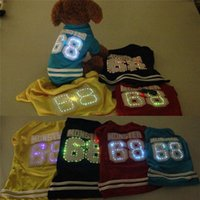 Wholesale New Fashion LED Dog Clothes For Small Dogs Cotton Pet Products Air Sports T shirt Cat Pet Clothes Dog Jumpsuit Vest Q0521