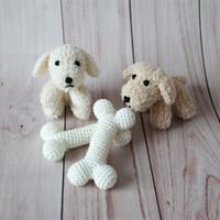 ingrosso animali di peluche a maglia-Teddy Bunny Photo Prop Peluche coniglietto neonato coniglietto lavorato a maglia coniglietto Puntelli animali