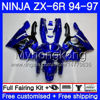 Wholesale 1996 kawasaki zx6r fairings black online - Bodys For KAWASAKI NINJA ZX CC ZX R HM ZX600 ZX636 ZX R ZX6R Gloss blue black Fairing
