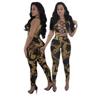 c8ba0b3367e5 New Arrive Two Piece Set Bandage Jumpsuit Women Gold Chain Print Rompers Women  Jumpsuit Slim Combinaison Femme