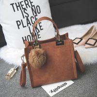Wholesale Christmas Ball Opens - women Shoulder Bags 2018 Hot Casual Fashion Women Bags PU Leather Plush Ball Ornaments Luxury handbags