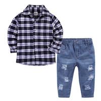 vêtements de bébé ensembles europe achat en gros de-Printemps 2018 Été bébé garçon chemise à manches longues jeans costume Menbao Europe et Amérique 2 pièces ensemble.