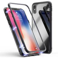 cajas del teléfono del tirón del metal al por mayor-Metal de adsorción magnética + vidrio templado Imán incorporado Panel trasero transparente Caja de la cubierta del tirón para el iPhone XS Max XR X 8 7 6 6S Plus