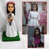 ingrosso bambola reale bianca-Miniature White Clay Nice Handmade Decorative persona reale bambola ragazza di nozze scultura arte opera vera faccia a mano artigianale