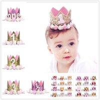 sombrero de número al por mayor-Decoración de cumpleaños Party Sombreros Número Priness Pink Accesorio para el cabello Cap Head Band con Multi Color Flower para niña 5jm jj