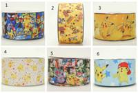 charakterdruck grosgrainband großhandel-3 '', 75mm Grosgrain Ribbon - Pikachu Cartoon gedruckt - Pikachu Cutie Charakter