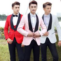 Wholesale long sleeve red formal for men - (Jacket+Vest+Pants) 3 piece sets Formal Men Suits Bar singer Prom Compere Master for Wedding Host Studio performance Costumes