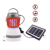Wholesale mosquito indoor - Camping Light Rechargeable Insect Bug Mosquitoes Zapper killer LED Tent Lantern with Function USB Solar Charging for Outdoor Camping Hiking