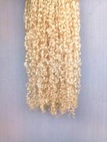 ingrosso bionda capelli brasiliani vergini non trattati-Capelli vergini brasiliani della retina dei capelli biondi ricci vergini brasiliani della trama dei capelli ricci morbidi estensioni non trattate