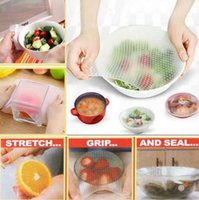 Wholesale washable food - 5pcs Silicone Bowl Food Storage Wraps Cover Seal Fresh Reusable Keeping Kitchen Tools Bags Pouch Cover Breast Pads OOA5329