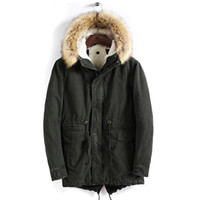 Wholesale winter trenchcoat - MORUANCLE Mens Winter Warm Parkas Thick Thermal Jackets And Coats With Fur Hood Coon Lined Trenchcoat Windbreaker Size M-4XL