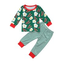 Wholesale baby red tshirt resale online - XMAS Christmas Pyjamas baby girls GREEN WHITE RED STRIPED print red pajamas tshirt tops outfits santa children cotton ruffle pants Y