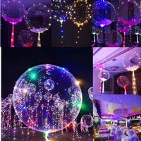 Wholesale cheer balloons - Transparent Bobo Light Balloon multicolor LED glow party holiday decorations Helium LED Poms Cheer Items Lighted Toys GGA104 50PCS