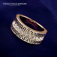 Wholesale g finger rings - Brand Design Rose Gold Color Austrian Rhinestone Paved G Retro Rome Design Unisex Finger Ring Wholesale 18krgp