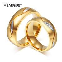 4,5 paar ringe großhandel-Meaeguet Classic Paar Ringe Für Liebhaber Zirkonia Hochzeit Ring Gold-Farbe Edelstahl Anel Schmuck