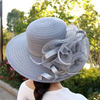 chapeaux d'été blanc dames achat en gros de-Dames Mesh Visor Transparent Fleur Mariage Sun Dome Hat Mode Noir Et Blanc Printemps Été Automne