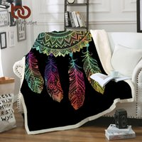 Wholesale colorful adult bedding online - BeddingOutlet Dreamcatcher Sherpa Throw Blanket Bohemian Mandala Sherpa Fleece Blanket on the Bed Sofa Colorful Plaid Bedspread
