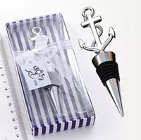 Wholesale giveaways wedding souvenirs wine stoppers for sale - Group buy Wedding Favor Gift And Giveaways For Man Guest Nautical Themed Anchor Wine Bottle Stopper Party Souvenir