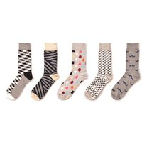 Wholesale zebra sock animal for sale - 5 pairs New arrival men happy socks zebra geometry mustache Hip Hop funny fashion socks Street Wear dress pack winter