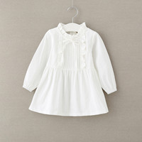 Wholesale Little Girls White Cotton Dresses - 2018 NEW arrival Hot selling spring Girls long Sleeve solid color dress baby kids little stand collar Dress 3 colors