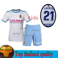 jerseys de fútbol niños al por mayor-2019 Kids Kit Real Zaragoza Jersey de Futbol 2018 19 Inicio Blanco Visitante Boy Soccer Jerseys ZAPATER POMBO DAVID Niño Zaragoza Soccer Camisetas