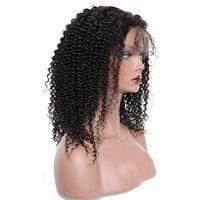 en iyi kıvırcık insan saçı perukları toptan satış-En iyi 10A Sapıkça Kıvırcık Brezilyalı Saç İnsan Saç Tam Dantel Ön Peruk Siyah Kadınlar Için 180 Yoğunluk Toptan İnsan Saç Peruk Sıcak Satış