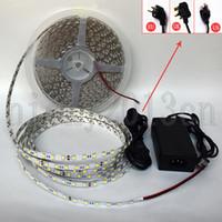 Wholesale dc 24v 5a resale online - Full Set M LED Flexible Strip Light Tape Ribbon LEDs White No Voltage Drop Non Waterproof V A Power Supply Connector