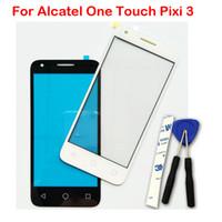 orijinal alcatel toptan satış-Alcatel One Touch Için ön Lens Pixi 3 4.5 4027D 4027X 4027 A5017 5017E VF795 Dokunmatik Ekran Dış Cam Yeni Orijinal