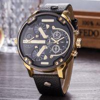 military gift al por mayor-Relojes de lujo de la promoción de los hombres grandes marcación grande reloj correa de cuero calendario moda reloj de cuarzo militar relojes de pulsera regalos Relogio Masculino