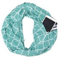 Wholesale infinity scarves for sale - Hot Sale Women Fashion Autumn Winter Print Zipper Pocket Loop Scarf Soft Warm O Ring Scarves Ladies Infinity Scarfs