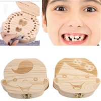 Wholesale wooden boxes gifts - Baby Teeth wooden Storage Box Girls Boys Image Kids Tooth Save Wool Box Creative Gifts Trave Kit English Spanish Version