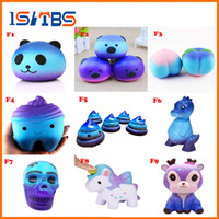 Wholesale movie candy - 9F Style Antistress Galaxy Cute Kawaii Cartoon Deer Dinosaur Tooth Squishy Toys Slow Rising Skull Cotton Candy Cream Scented Squeeze Toys