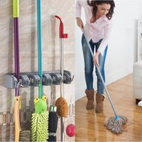mops brushes 2018 - Kitchen Wall Mounted Mop Holder 5 Position 6 Hangers Hooks Kitchen Storage Mop Brush Broom Organizer Hanger Tool