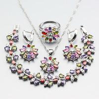 Wholesale multicolor jade bracelet - Manny Multicolor Zircon 4PCS Earrings Pendant Necklace Bracelet Ring 925 Silver Party Flower Jewelry Sets Free Gift Box W299