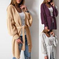 бесплатное дамское пальто оптовых-Леди шерстяной кардиган пальто свитер женщин Kintted сплошной цвет случайный фонарь рукав с длинным рукавом пояса свободный размер длинное платье
